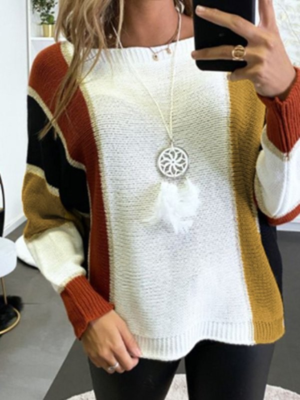 Oversized Color Block Knit Sweater - Brown L