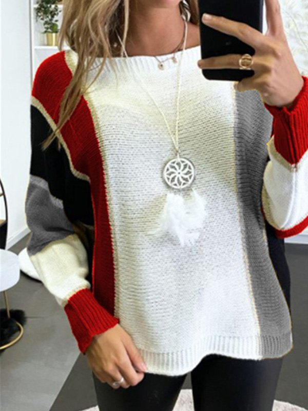 Oversized Color Block Knit Sweater - Red S