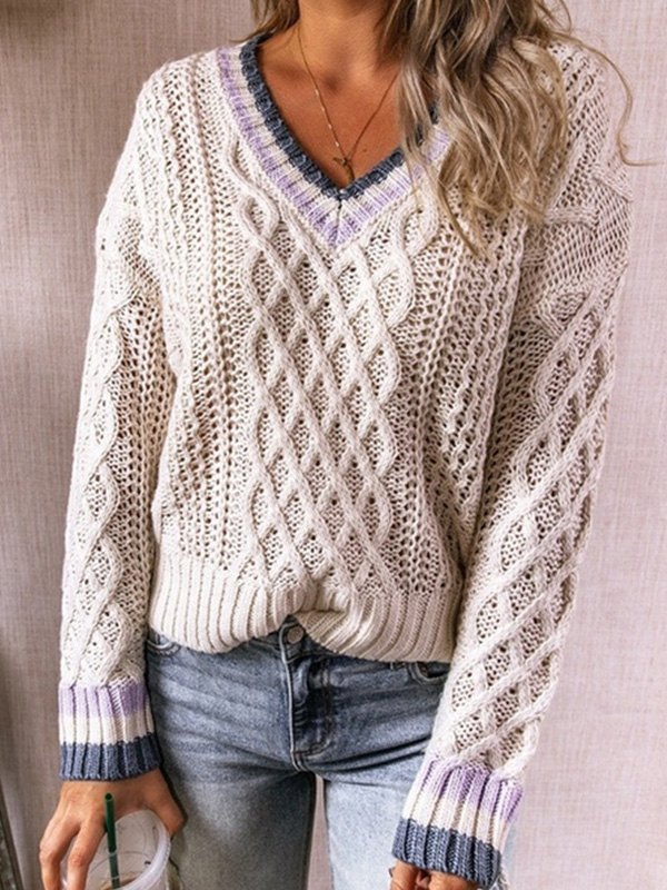 V Neck Cable Knit Sweater - Beige L