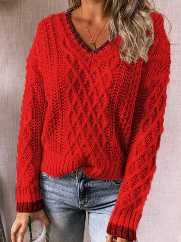 V Neck Cable Knit Sweater - Red S