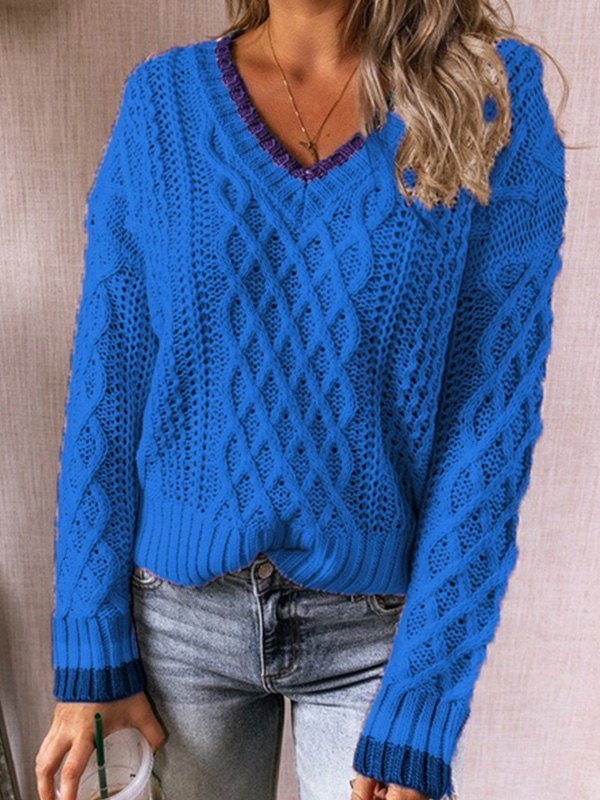 V Neck Cable Knit Sweater - Blue XL