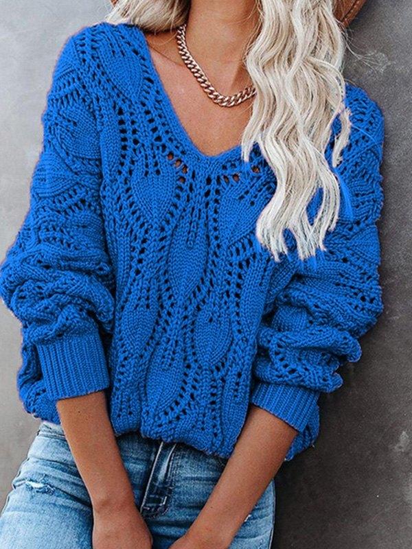 V Neck Crochet Knit Oversize Sweater - Blue L