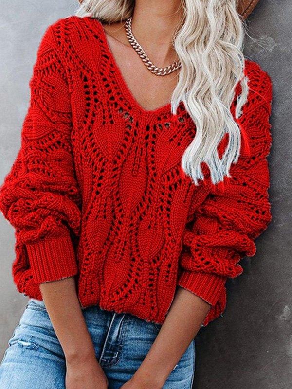 V Neck Crochet Knit Oversize Sweater - Red S