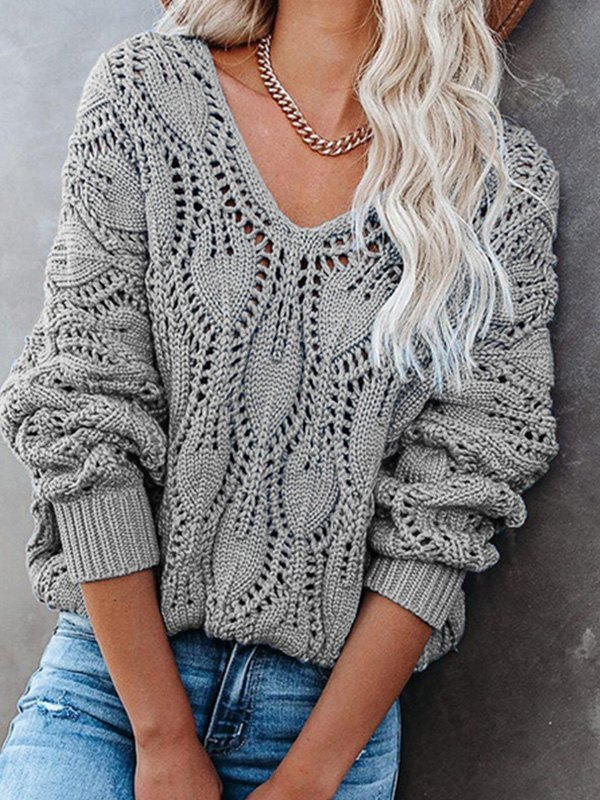 V Neck Crochet Knit Oversize Sweater - Gray L