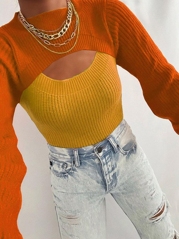 Patchwork Cutout Crew Sweater - Orange L