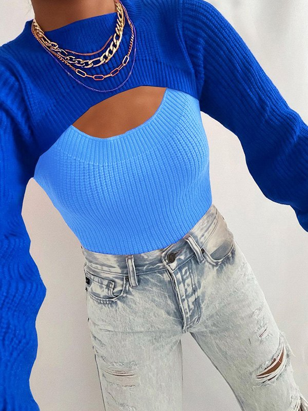 Patchwork Cutout Crew Sweater - Blue L
