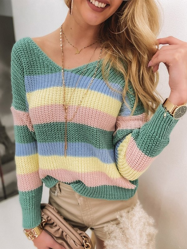 Backless Striped Pullover Sweater - Green L