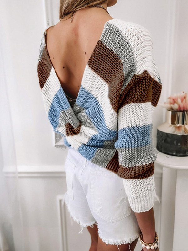 Backless Striped Pullover Sweater - Brown XL