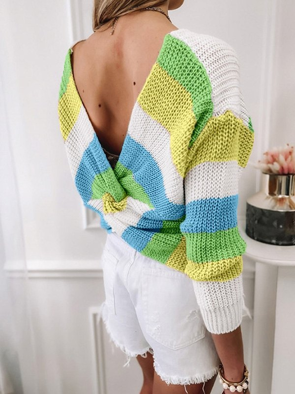 Backless Striped Pullover Sweater - Yellow XL
