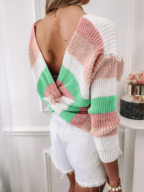 Backless Striped Pullover Sweater - Pink L