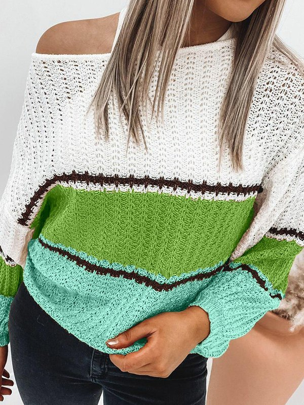 Crochet Hollow Striped Sweater - Green L