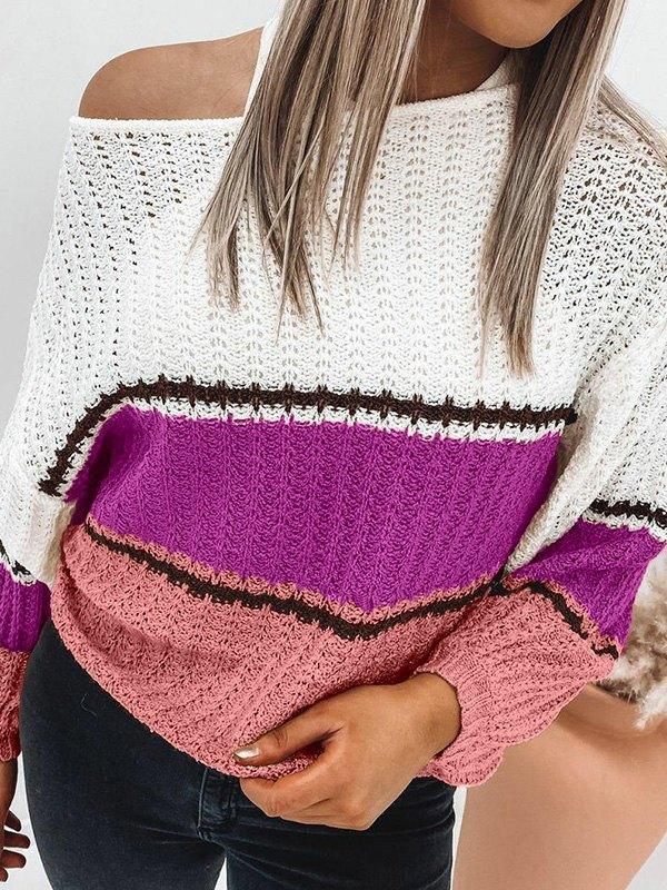 Crochet Hollow Striped Sweater - Beetroot Purple M