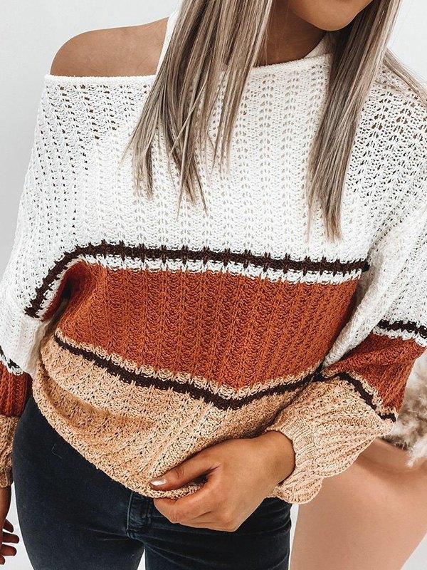 Crochet Hollow Striped Sweater - Brown M