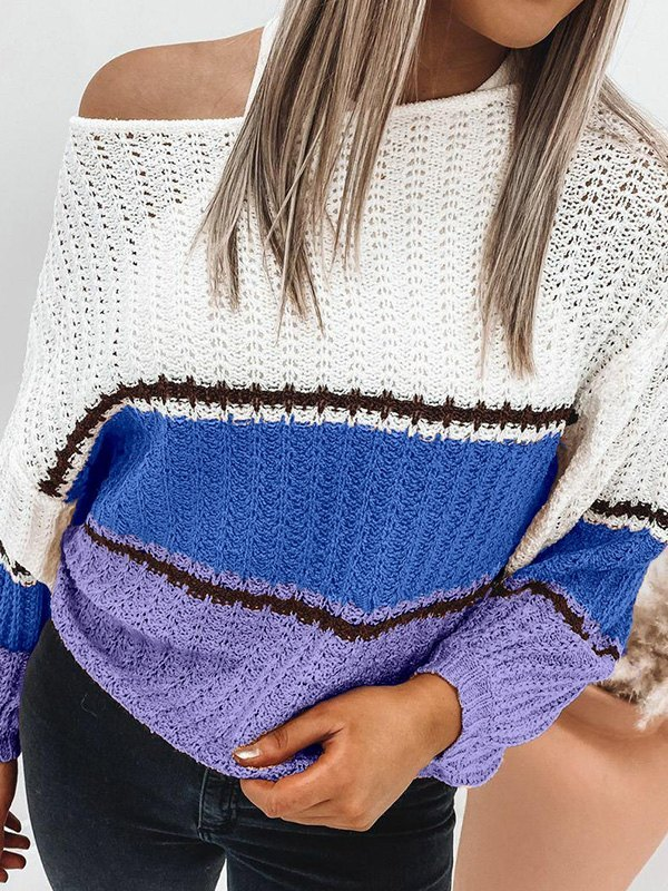 Crochet Hollow Striped Sweater - Blue M