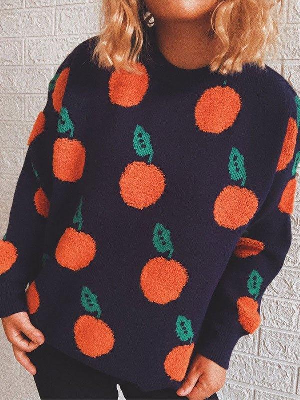 Orange Jacquard Knit Sweater - Navy Blue L