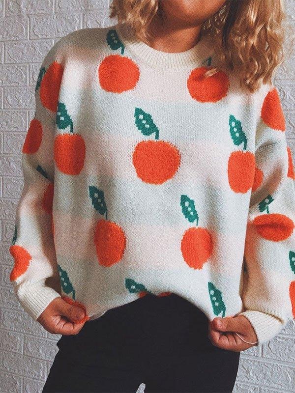 Orange Jacquard Knit Sweater - Apricot M