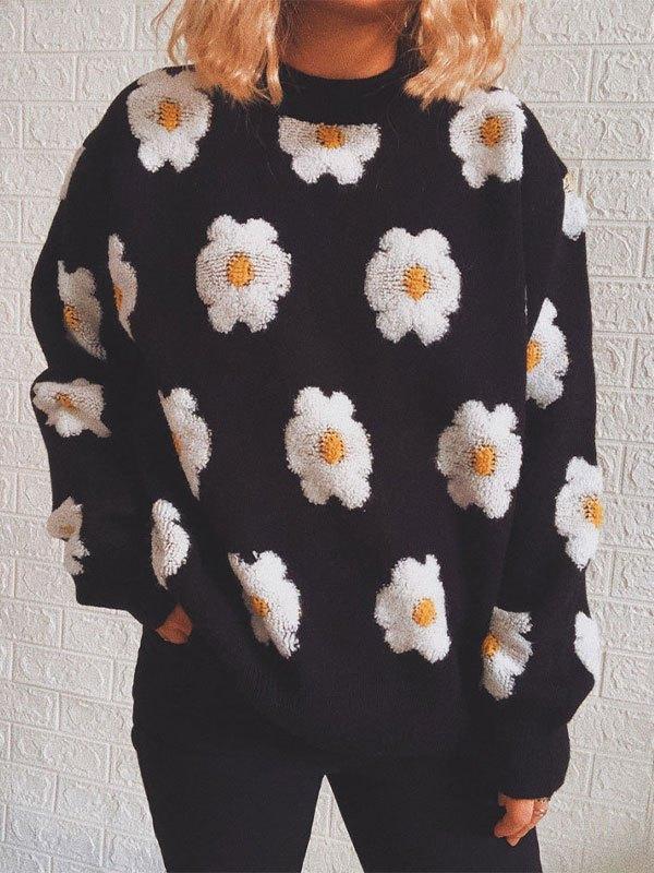 Toweling Floral Jacquard Knit Sweater - Black M