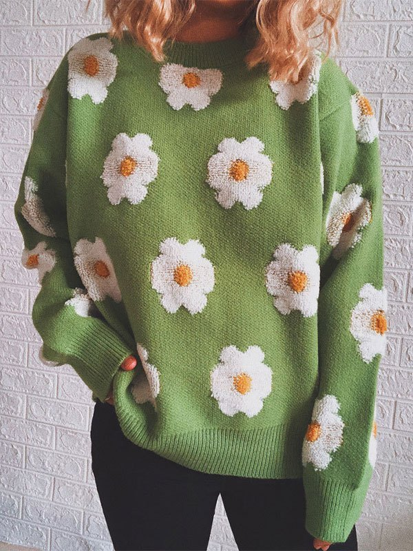 Toweling Floral Jacquard Knit Sweater - Green M