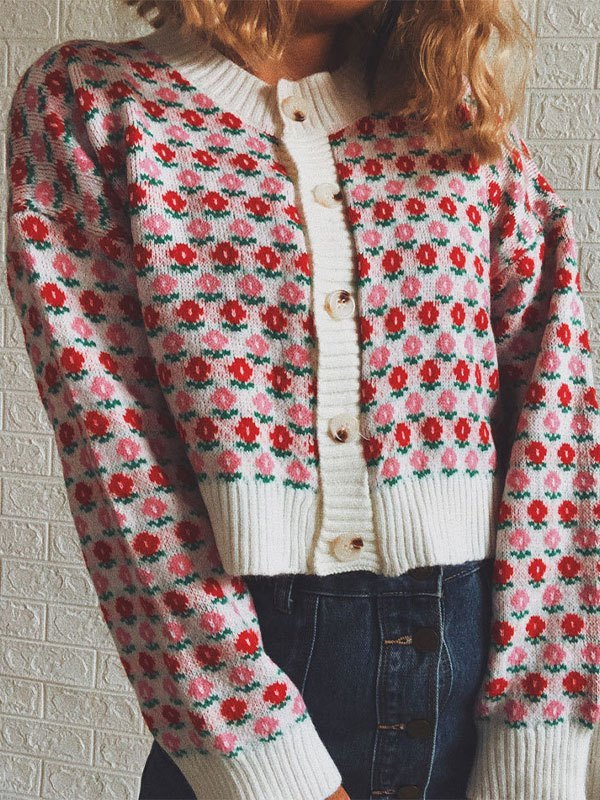 Cropped Floral Button Knit Cardigan - Pink L