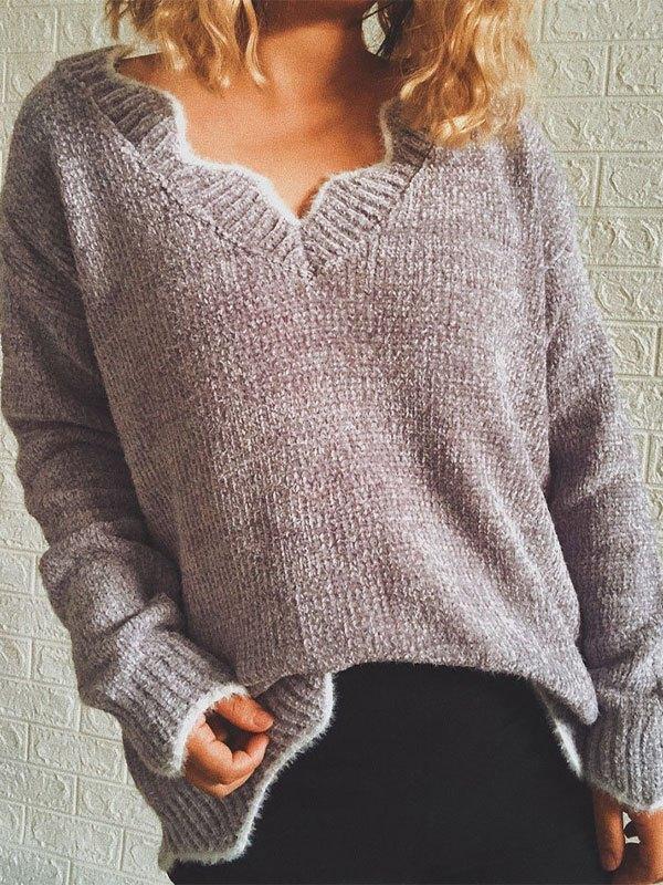 V Neck Curve Knit Sweater - Gray L