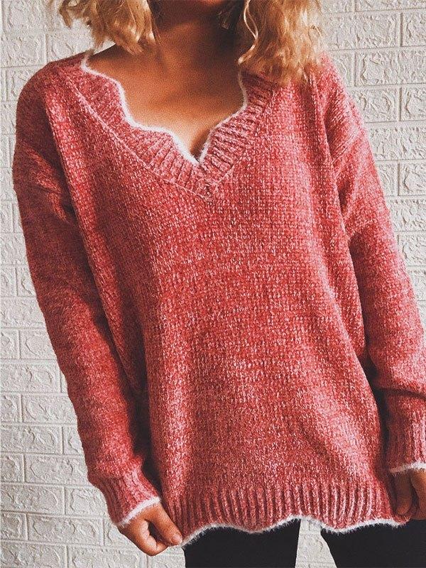 V Neck Curve Knit Sweater - Pink L