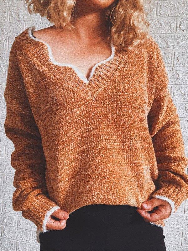 V Neck Curve Knit Sweater - Brown L