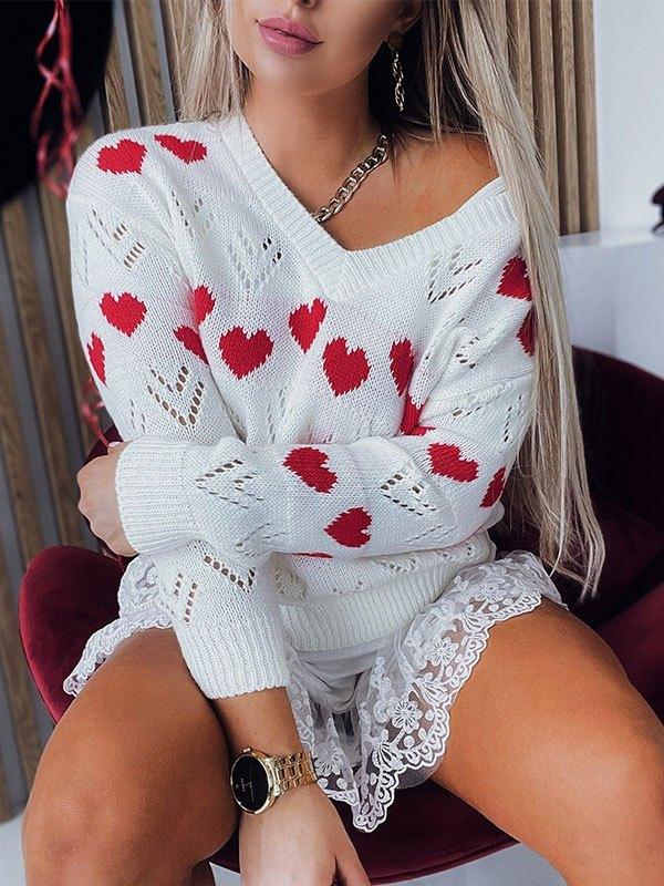 V Neck Heart Pattern Sweater - White L