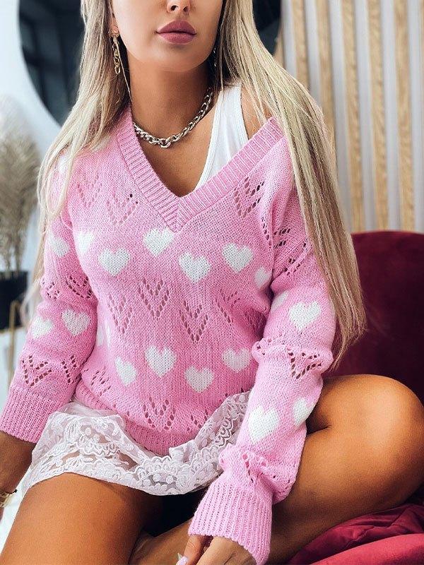 V Neck Heart Pattern Sweater - Pink L