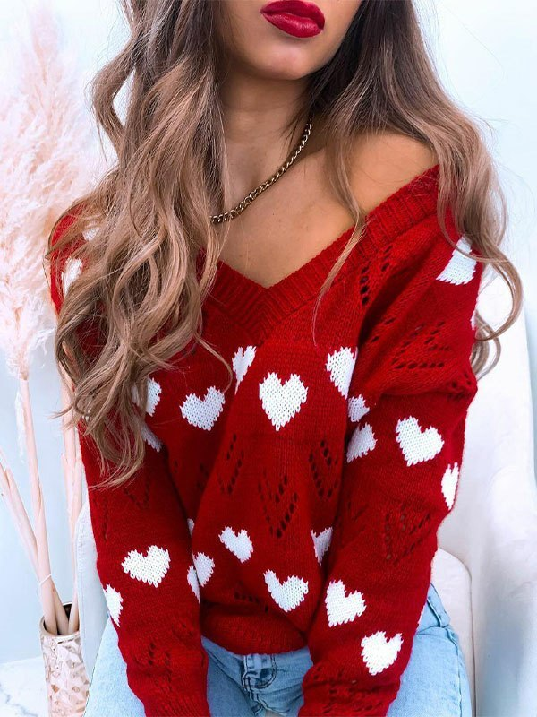 V Neck Heart Pattern Sweater - Red L