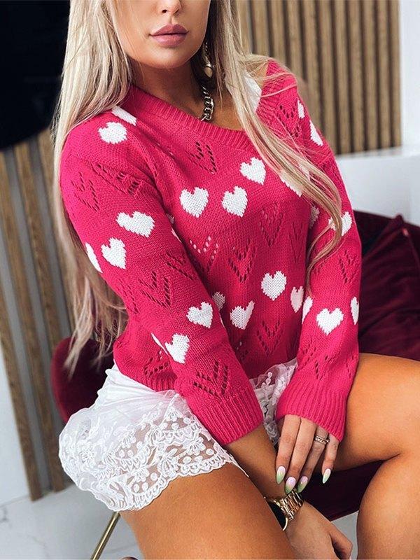 V Neck Heart Pattern Sweater - Beetroot Purple XL