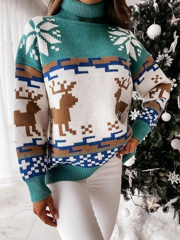 Turtleneck Christmas Elk Sweater - Green XL