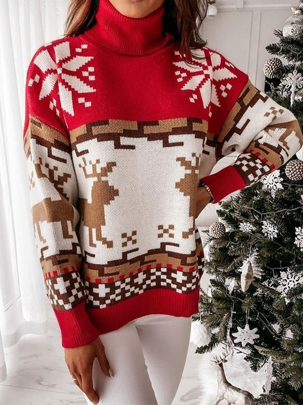 Turtleneck Christmas Elk Sweater - Red S