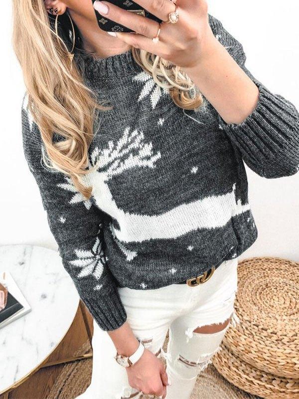 Christmas Elk Jacquard Knit Sweater - Gray S