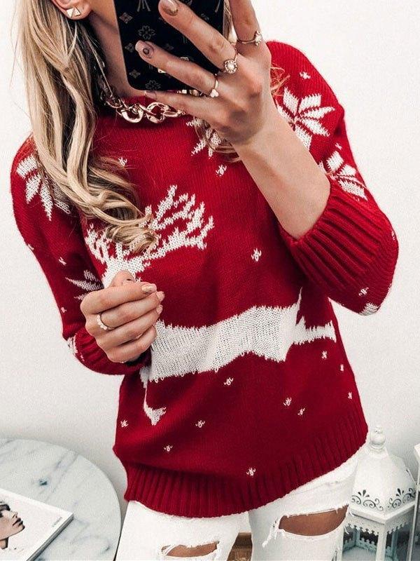 Christmas Elk Jacquard Knit Sweater - Red L