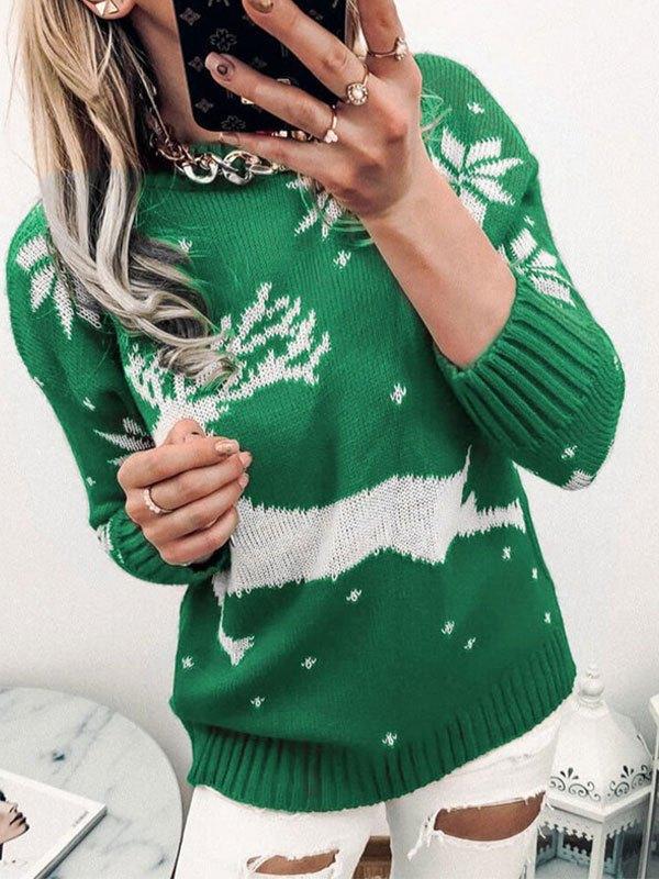 Christmas Elk Jacquard Knit Sweater - Green XL