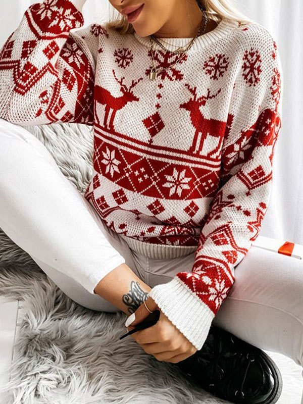 Christmas Snowflake Crew Neck Sweater - Red L