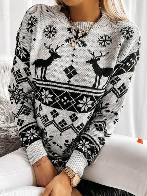 Christmas Snowflake Crew Neck Sweater - Black L