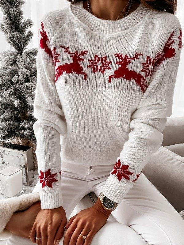 Jacquard Knit Christmas Sweater - White L