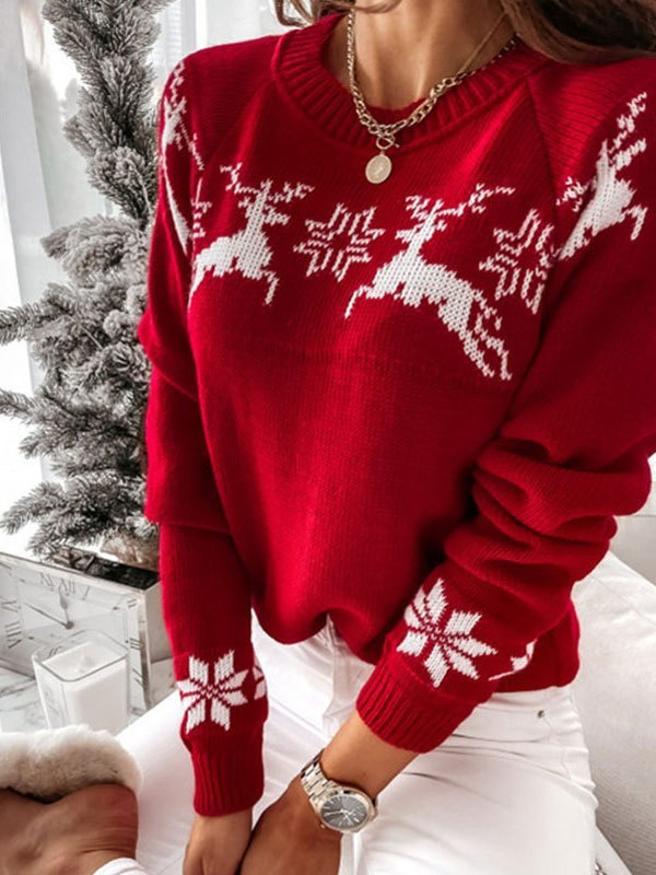 Jacquard Knit Christmas Sweater - Red S