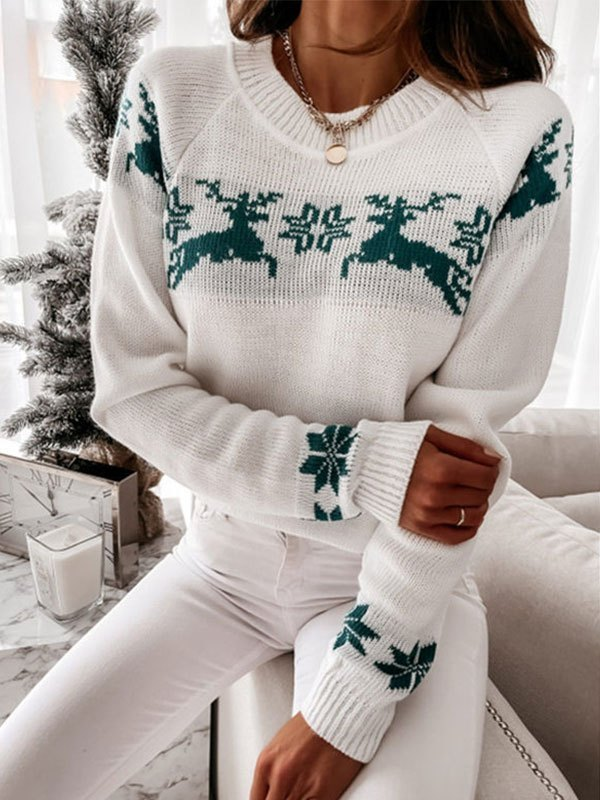 Jacquard Knit Christmas Sweater - Green S