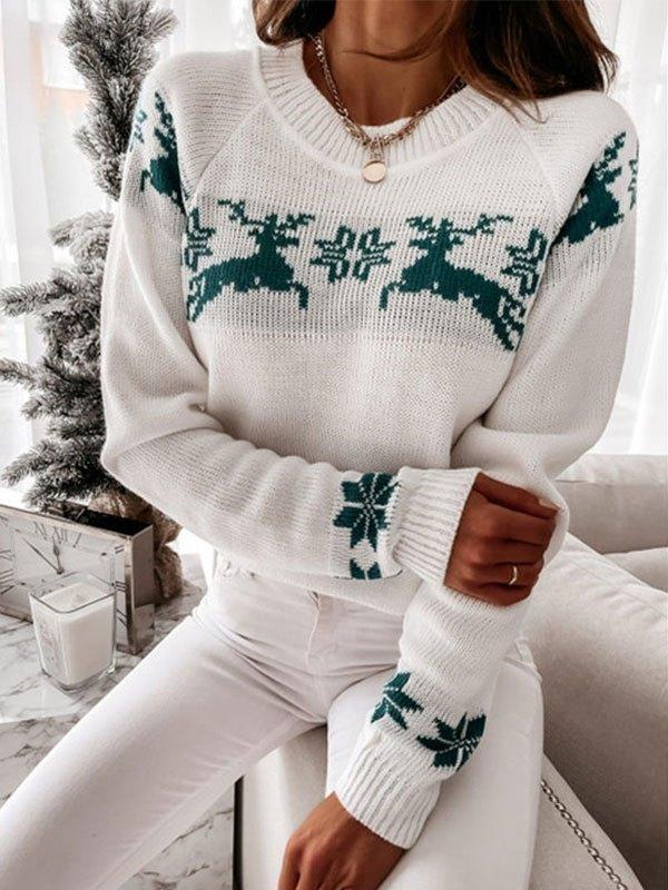 Jacquard Knit Christmas Sweater - Green L