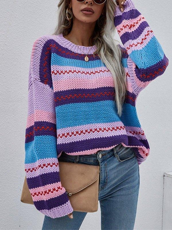 Oversized Stripe Jacquard Knit Sweater - Purple L