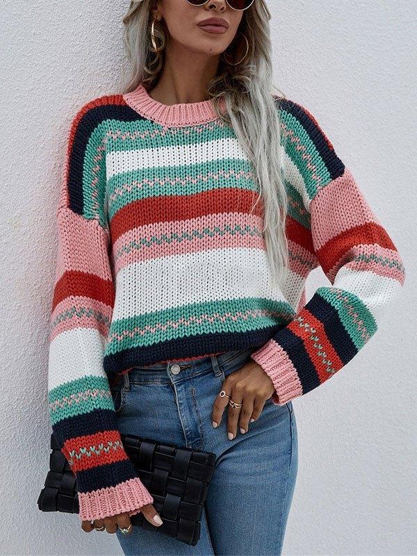 Oversized Stripe Jacquard Knit Sweater - Green L