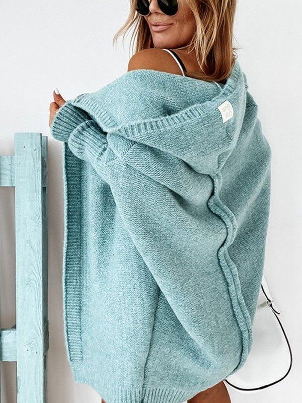 Oversize Hooded Knit Cardigan - Blue M