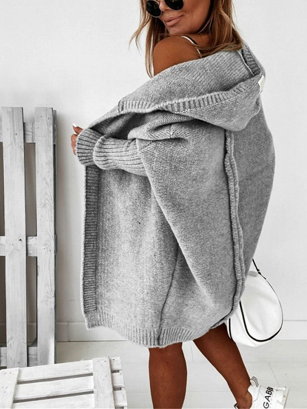 Oversize Hooded Knit Cardigan - Gray L