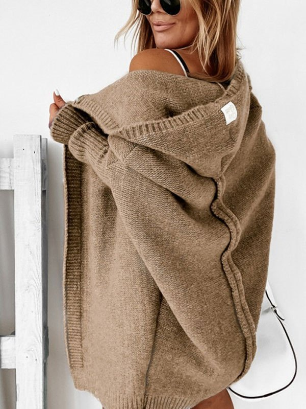 Oversize Hooded Knit Cardigan - Khaki L