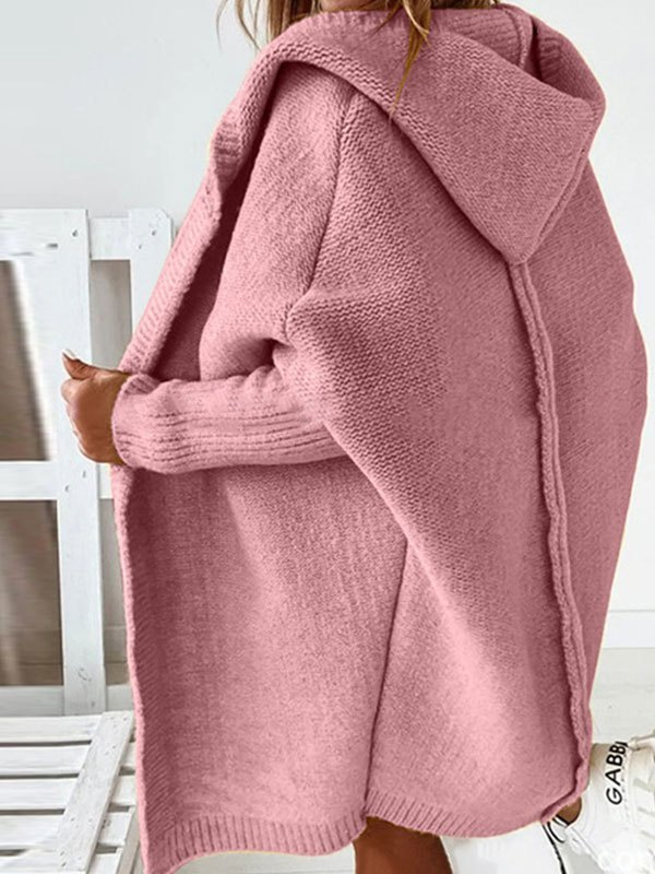 Oversize Hooded Knit Cardigan - Pink S