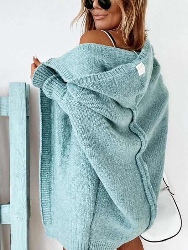 Oversize Hooded Knit Cardigan - Blue L