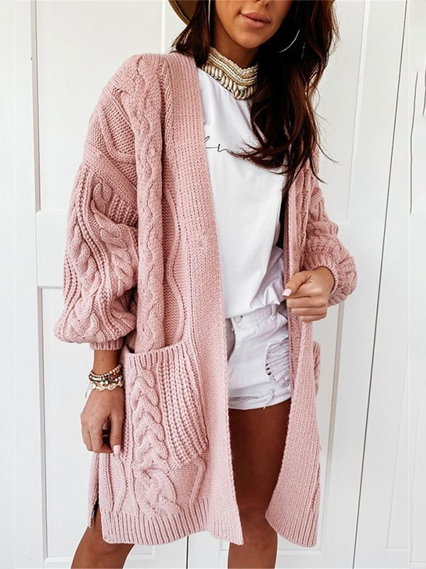 Open Front Cable Knit Cardigan - Pink L