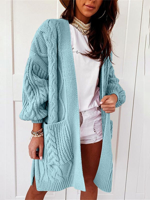 Open Front Cable Knit Cardigan - Blue M